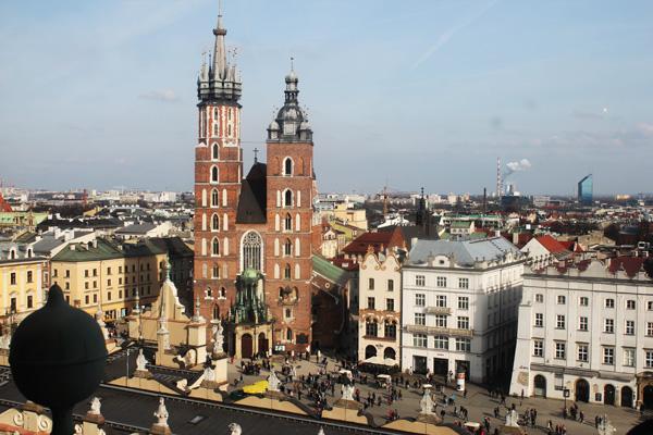 vista dalla torre del municipio cracovia