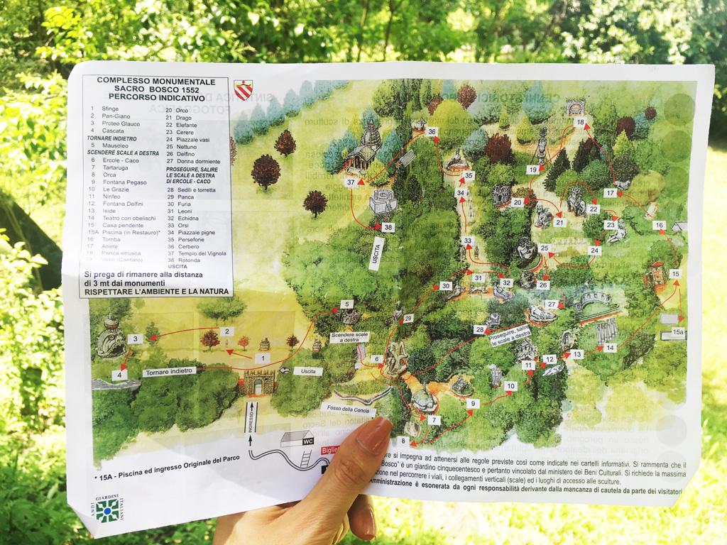 piantina del parco dei mostri di bomarzo